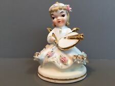 Lefton Angel Figurine Spaghetti Pink Roses Little Artist #808B Vintage Japan