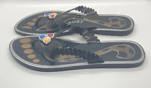 Colombian Women's Size 8 Sandals Black With Yellow Blue And Red Slip On Thong
