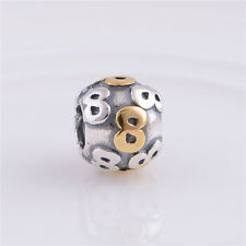 Original 925 Silber European Bicolor Bead Element Zahl Nummer 8 NEU