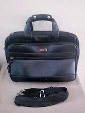 "Tumi Black Leather 17"" Briefcase Laptop File Document Shoulder Bag EXPANDABLE"
