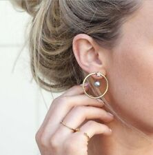 Women Fashion Statement Drop Earring Gold Color Geometric Circle Metal Earrings