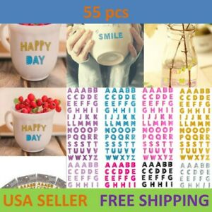 55pcs Letter A-Z Alphabet Glitter Self Adhesive Crystals Stickers Stick On DIY