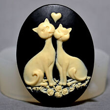 CATS IN LOVE-  SILICONE MOLD - food use, resin, fimo, plaster,  MOULD