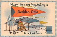 Ohio postcard Deshler large letter vintage airplane romantic couple ca 1914