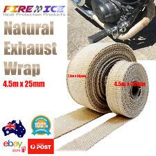 Exhaust Wrap Motorbike Motorcycle Bike Natural Tan 4.5m x 25mm Harley Heat Wrap