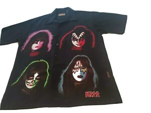 Vintage 2001 KISS Catalog SOLO ALBUMS FACES Button Shirt Size L