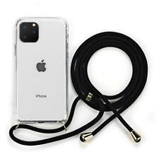 Funda de silicona transparente con correa cordón para iPhone 11 XR X XS