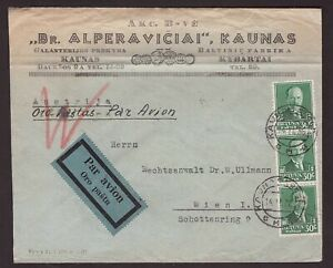 1936 Lithuania air mail letter sent from Kaunas to Austria