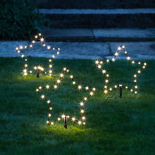 Set of 3 Christmas Star Stake Lights Warm White LEDs Plug In Outdoor Lights4fun