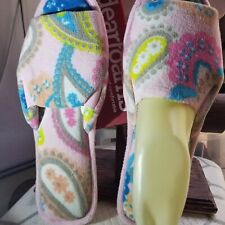 Dearfoams Pink paisley new open box slippers shoes flip flops size xl 11/12