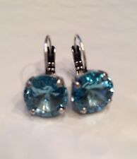 12mm Aquamarine Earrings Made With Swarovski Crystal Elements see Color Chart