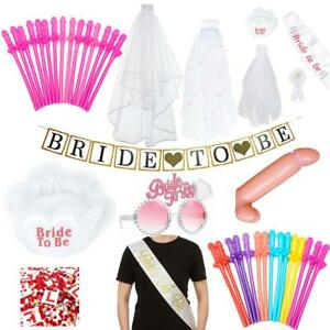 Bride To Be Hen Party Accessories Veil Garter Glasses Straws Bridal Night Out
