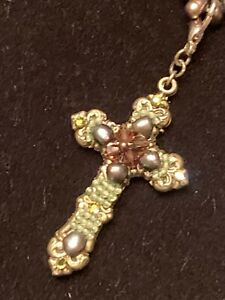 Antique Miriam Haskell Russian Gold Cross Pendant Necklace