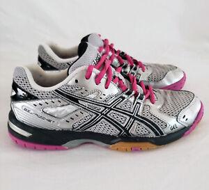 Asics Gel Rocket Volleyball Shoe Women Sz 7 Athletic B257N Silver Black Pink