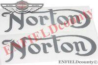 FUEL TANK LOGO DECAL STICKER PAIR SILVER NORTON COMMANDO MOTORCYCLE @DE