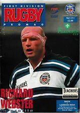 Rugby Union Programme>BATH v LONDON IRISH Dec 1996 Pilkington Cup