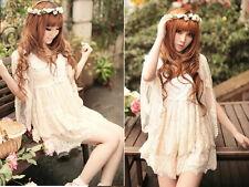 Kawaii Princess Cute Sweet Dolly Wedding batwing Sleeve Lolita Lace Dress Shirt