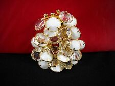 Swarovski Elements of Clear and Milk Glass Crystal Gold-tone Brooch Amazing Piec