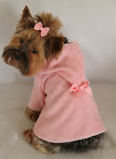S New Pink Terry Cloth Hooded Dog Bathrobe clothes pet apparel Small PC Dog®