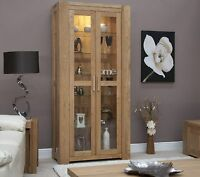 Padova solid oak furniture glazed display cabinet