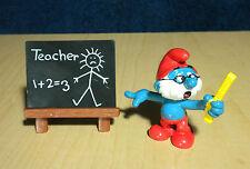 Smurfs School Teacher Papa Super Smurf Blackboard Vintage Toy PVC Figure 40224