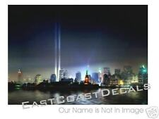 WTC Decal - 911 NYC Blue Light Skyline Never Forget 9/11 Decals 9-11