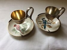 Antique Hukin and Heath 1909-1910 Pair of Silver Egg Cups,with bird design