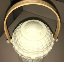 Party Lite Ivory Bisque Nantucket Woven Porcelain Basket / Candle Holder