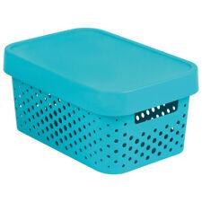 Caja de almacenamiento con tapa QUEBRADO Infinito 27 x 19 X 12cm turquesa CURVA