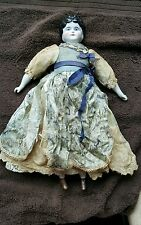 Antique German China Handpainted Doll - Silk Dress- All original - Untouched