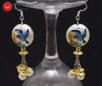 18mm Round White Cloisonne & 6-7mm White Natural Pearl Dangle Earring for Women