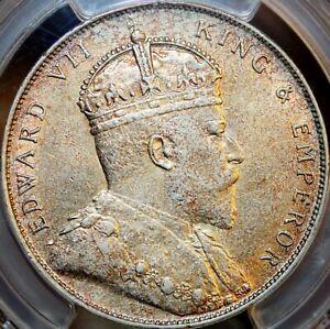 1908 $1  STRAITS SETTLEMENTS GEORGE V SILVER COIN PRID-7 ~~PCGS AU DETAIL