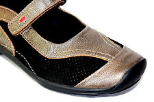 WOLKY Mary Jane Flat Shoes Bronze with Black Leather EU 39/US 9M