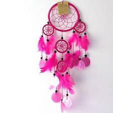 NEW BRIGHT PINK SHELL AND FEATHER DREAM CATCHER NATIVE AMERICAN HANGING MOBILE