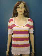 XXL purple white and gold striped scoop neck knit blouse by MOSSIMO