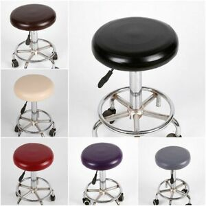 1/2x Round Stool Cover Elastic PU Leather Waterproof Chair Slipcover Pump Chair