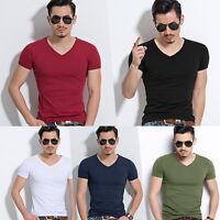 Summer Men Slim Fit Tops T-Shirt Short Sleeve Casual V-Neck Tee Shirt M-3XL 50