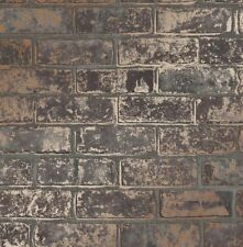 Brick Styled Wallpaper Heavyweight Luxury Brown Metallic Rose Gold Fine Decor