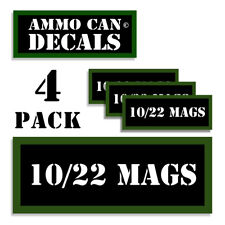 "10/22 MAGS Ammo Can LABELS STICKERS DECALS for Ammunition Cases 3""x1.15"" 4pack"