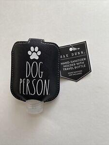 RAE DUNN Hand Sanitation Case Holder DOG PERSON Travel Bottle Key Chain Black
