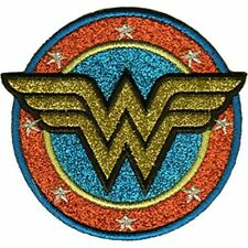 WONDER WOMAN LOGO - GOLD GLITTER - EMBROIDERED PATCH - BRAND NEW - 0177