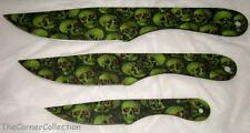 3 PIECE GREEN SKULL PRINT THROWING KNIVES WITH NYLON CASE