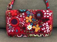 Brighton Women's Handbag Purse Multi-Color Floral Canvas Leather Trim Crossbody