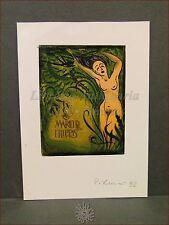 EROTICA - Ex-Libris Originale Firmato a Colori NUDO DONNA e ROVI Rudolf Kopylov
