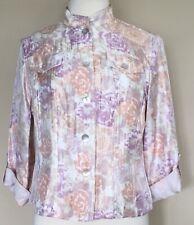 Ruby Rd Petite Shimmery Shirt Jacket Roll Tab Sleeves Lavender Peach Floral 12P