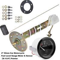 """Universal 2"""" Fuel Sensor E-1/2-F Pointer Car Fuel Level Gauge Meter 52mm 12V LED"""