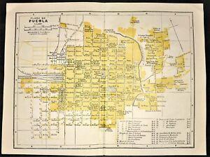 1947 ORIGINAL COLOR MAP ~ PLAN of PUEBLA, MEXICO ~ STREET ATLAS ~ RARE