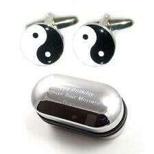 Yin & Yang Cufflinks & Engraved Gift Box