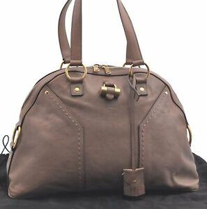 Authentic YVES SAINT LAURENT Muse Shoulder Hand Bag Leather Beige C9689
