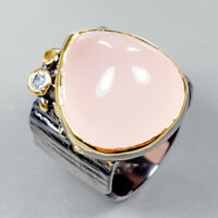 Handmade19ct+ Natural Rose Quartz 925 Sterling Silver Ring Size 7/R123381